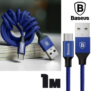 Baseus 1M Yiven Micro USB Charging Data Sync Braided Cable - Blue