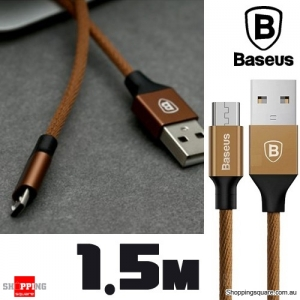 Baseus 1.5M Yiven Micro USB Charging Data Sync Braided Cable - Coffee