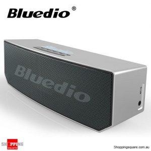 Bluedio BS-5 Bluetooth 4.1 Wireless 3D Stereo HiFi Speaker with Microphone for Calls - Silver Colour