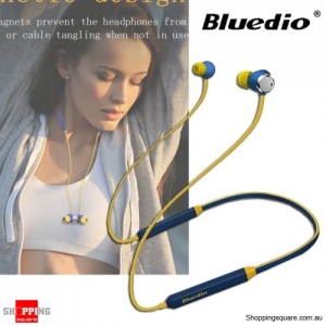 Bluedio TN Magnetic HiFi Bluetooth Earphones Headphone With Active Noise Cancelling Dual Microphone - Blue