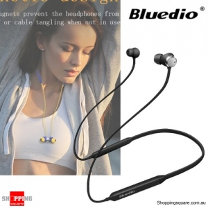 Bluedio TN Magnetic HiFi Bluetooth Earphones Headphone With Active Noise Cancelling Dual Microphone - Black