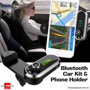 F1 Bluetooth Hands-free FM Transmitter MP3 Player Car Kit Phones Holder Supports TF Card