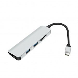 Daily Clearance- 5 in 1 Type C Hub with 4K HDMI Adapter USB 3.0 Port SD/Micro SD Card Reader - Silver Colour