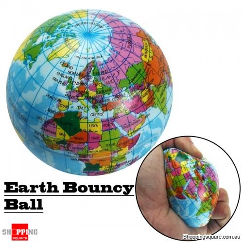 Earth 7.5cm Foam Bouncy World Geography Map Globe Model for Stress Relief Education