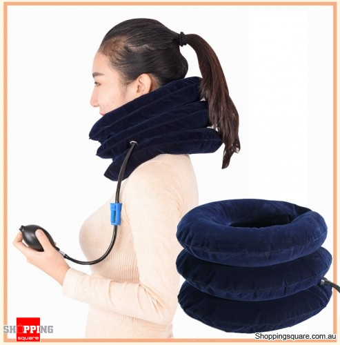 Air Inflatable Pillow Support Device for Cervical Spondylosis Pain Relief Traction Blue Colour