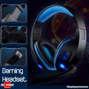 Gaming Headset 7.1Ch Stereo Foldable Headbrand Headphone USB LED With Mic Blue Colour