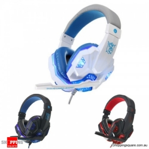 USB 3.5mm LED Surround Stereo Gaming Headset With Mic White Blue Colour