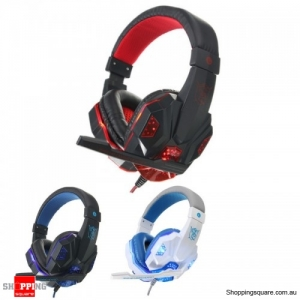 USB 3.5mm LED Surround Stereo Gaming Headset With Mic Black Red Colour