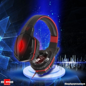 Stereo Gaming Headphone Headset Earphone with Microphone Volume Control for Windows Red Colour