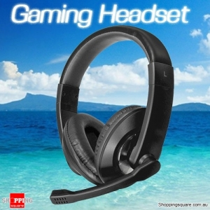 3.5mm Wired Stereo Surround Gaming Headset Headphone Earphones with Mic for PC Notebook Black Colour