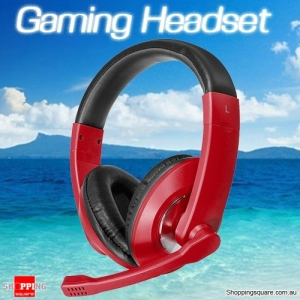 3.5mm Wired Stereo Surround Gaming Headset Headphone Earphones with Mic for PC Notebook Red Colour