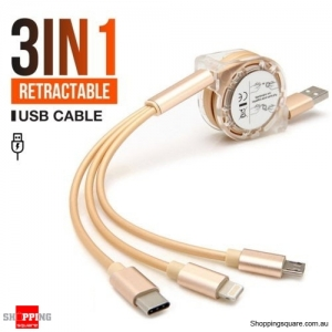 3 in 1 Lightning/Type C/Micro USB Multi USB Retractable Charger Cable Gold Colour
