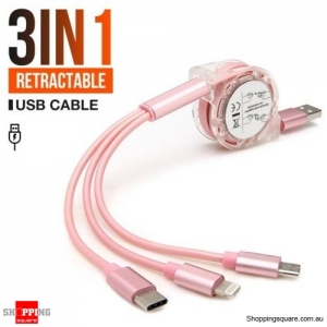 3 in 1 Multi USB Retractable Charger Cable Cord iPhone USB TYPE C Android Micro Rose Gold Colour