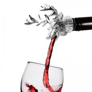 Metal Deer Head Wine Pourer Stag Head Wine Stopper
