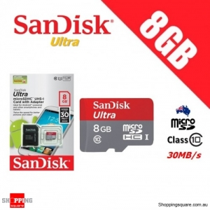 SanDisk Ultra 8GB micro SD SDHC Class 10 30MB/s Full HD Memory Card + SD adapter