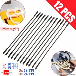 12Pcs of 5 Inch 125mm Pinned Scroll Saw Blade Accessories for DIY Wood Working Power Tool