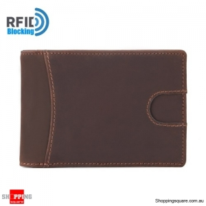 Men RFID Blocking Genuine Leather Wallet Brown Colour