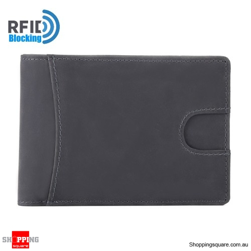 Men RFID Blocking Genuine Leather Wallet Dark Grey Colour