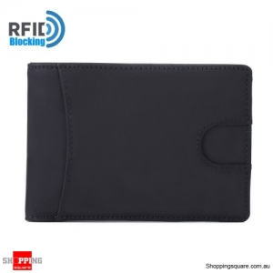Men RFID Blocking Genuine Leather Wallet Black Colour