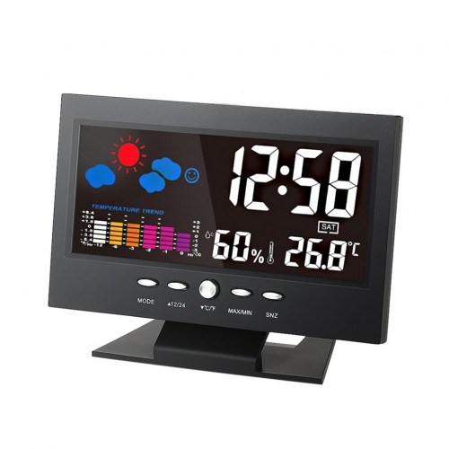 LED Digital Weather Station Thermometer Hydrometer Alarm Clock