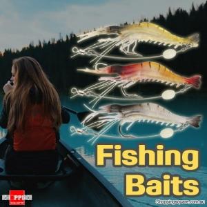 3-PCS 7.5CM Fishing Lures Crankbaits Hooks Minnow Soft Shrimp Baits