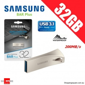Samsung Bar Plus 32GB USB 3.1 Flash Drive Memory 200MB/s Champagne Silver