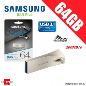 Samsung Bar Plus 64GB USB 3.1 Flash Drive Memory 200MB/s Champagne Silver