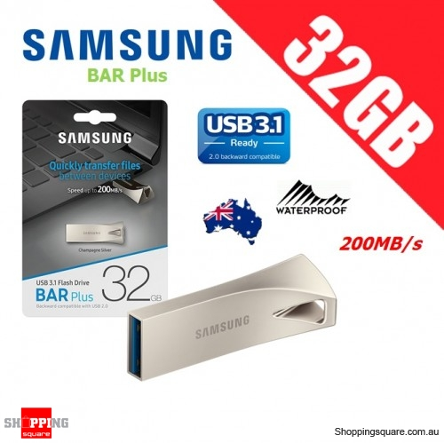 Samsung Bar Plus 32GB USB 3.1 Flash Drive Memory 200MB/s Champagne Silver