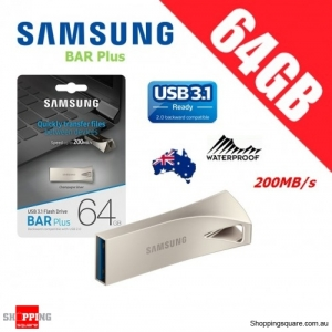 Samsung Bar Plus 64GB USB 3.1 Flash Drive Memory 200MB/s