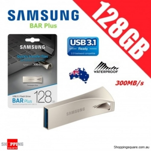 Samsung Bar Plus 128GB USB 3.1 Flash Drive Memory 300MB/s Champagne Silver