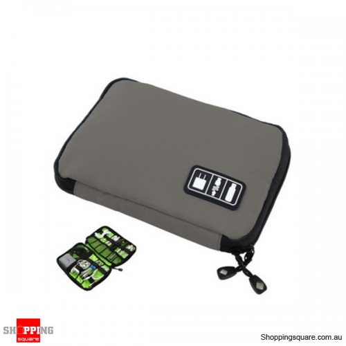 Travel Cable Storage Bag Electronic Accessories Carry Case Waterproof - Gray