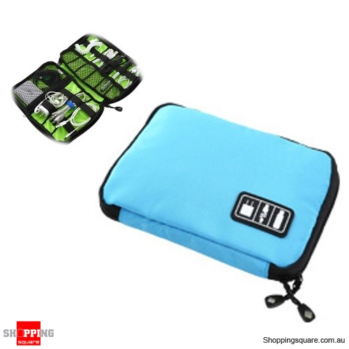 Travel Cable Storage Bag Electronic Accessories Carry Case Waterproof - Blue