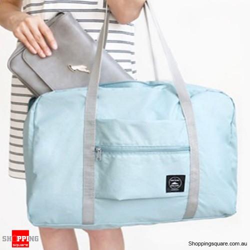 Portable Travel Storage Bag Waterproof Polyester Folding Luggage Handbag Pouch - Light Blue