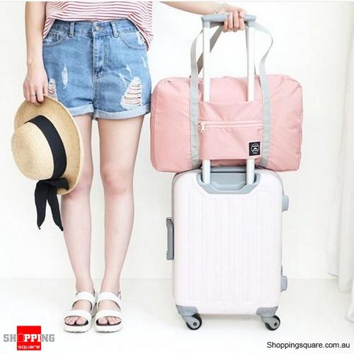 Portable Travel Storage Bag Waterproof Polyester Folding Luggage Handbag Pouch - Pink