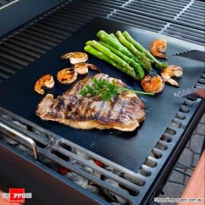 33X40cm Reusable BBQ Grill Mat Non-stick Heat-resistant Teflon Mat Baking Liner - Black