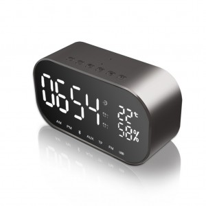 Bluetooth speaker USB wireless smart alarm Support Radio music player with microphone - Black