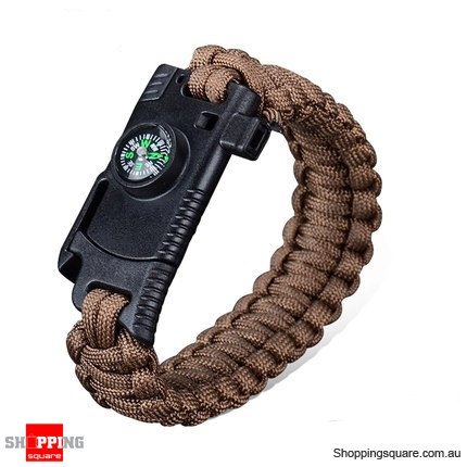 4 In 1 EDC Survival Bracelet Outdoor Emergency 7 Core Paracord with Whistle Compass Kit - Brown