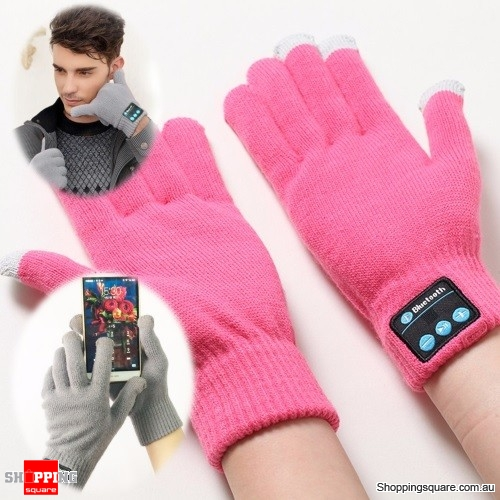 Smart Gloves Touch Screen Bluetooth Wireless Hands Free MP3 Player Winter Ski -Pink