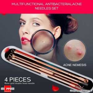 4Pcs of Multipurpose Acne Blackhead Pimples Remover Needles Set Double Head Cleaning - Rose Gold
