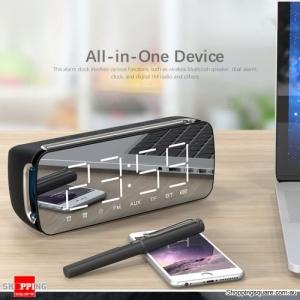 Bluetooth 4.2 LED Mirror Display HiFi Speaker with Alarm Clock FM Function - Black Colour
