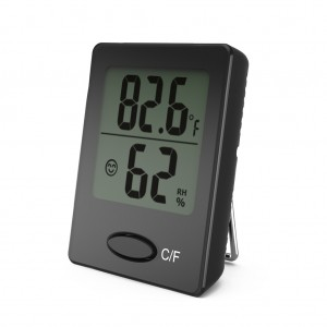 Mini Digital Hygrometer Thermometer with Stand Black Colour