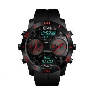 SKMEI 1355 Waterproof Multifunctional 3 Time Zones Analog and Digital Watch Red Colour