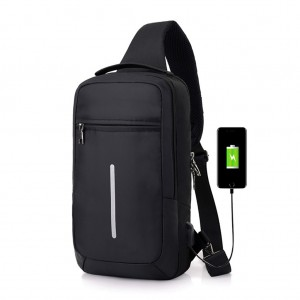 Men's Sling Bag Chest Pack with USB Interface & Detachable Charging Cable - Black Colour