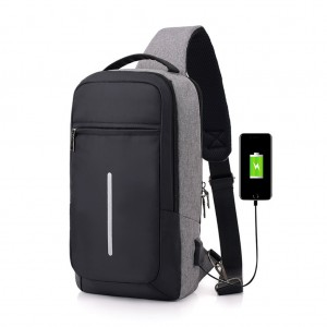 Men's Sling Bag Chest Pack with USB Interface & Detachable Charging Cable - Dark Gray Colour