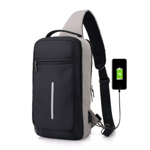 Men's Sling Bag Chest Pack with USB Interface & Detachable Charging Cable - Light Gray Colour