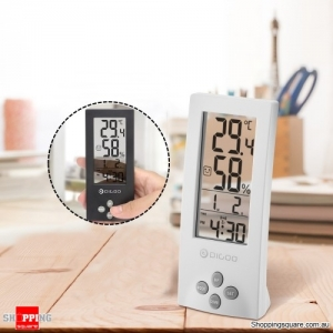 All-in-1 Multi Functional Wireless Transparent Screen Hygrometer Thermometer Sensor Timer Clock - White