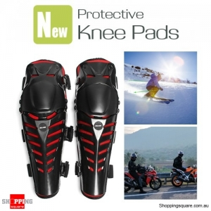 Motorcycle Ski Skateboard Knee Protector Kneepad Protective Gear for Riding Skiing - Black + Red