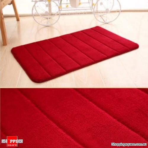 Coral Velvet Memory Foam Slow Rising Bathroom Mat Soft Non-slip Plush Floor Carpet - Wine Red
