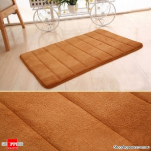 Coral Velvet Memory Foam Slow Rising Bathroom Mat Soft Non-slip Plush Floor Carpet - Khaki
