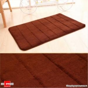 Coral Velvet Memory Foam Slow Rising Bathroom Mat Soft Non-slip Plush Floor Carpet - Brown
